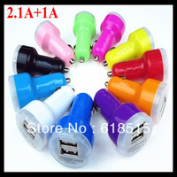 50pcs/lot Dual 2 Port USB Car Charger Adapter For iPhone 5 4 4S Galaxy S3 S4 i9500 Note2 MP3