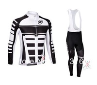 2013 assos White Thermal Fleece Cycling Jersey Long Sleeve and Cycling bib Pants hot sale!Free Shipping!
