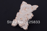 Free Shipping 10pcs Single  Ivory Drawer Knobs with Flower
