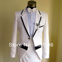 FREE SHIPPING HOT SALE Male suits wedding clothes white black fashion slim male suit