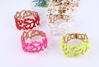 korean style hollow out wide bracelet fluorescent color exaggeration in Europe and the big bracelet