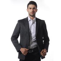 Aoken grey vertical stripe slim casual single west commercial male elegant