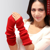 Cashmere gloves female thermal long design cashmere semi-finger gloves winter thermal long sleeve sleeves gloves