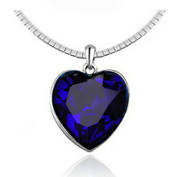 Crystal Made With Swarovski Elements Titanic Ocean Heart  Pendant Lady Necklace Chain Wedding Birthday Love Gift  (HLJ 121)