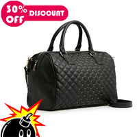 2013 Women Handbag,Shoulder Bags,Designer Vintage PU Leather Handbags,Plaid Rivet Bags+Free Shipping