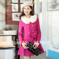 2013 plus size winter clothing double breasted slim thermal quality woolen overcoat outerwear long parka warm winter NZ013