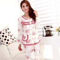Autumn and  winter  female cotton flower printed sleepwear home clothes dressing gown lace pajamas for women  sleep lounge set