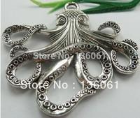 Fashion  Vintage Silvers Filigree Octopus Alloy Floating Locket Charms Pendants For Bracelet DIY Jewelry Findings 10pcs Z1213