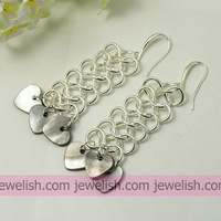 Fashion Earrings, with Shell Pendants, Iron Findings and Brass Earring Hooks, Gray, 77x20mm