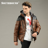 Southbound genuine leather clothing male pigskin thickening down coat male slim leather jacket