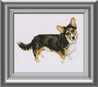 Free shipping DIY unfinished Cross Stitch kit Animal dog World  black welsh corgi ZA-G295