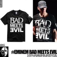 2013 new popular men's Eminem hiphop 100% cotton short-sleeve t-shirt bad meets evil  simple custom Punk retro jabbawockeez tees