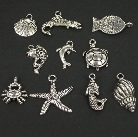 Wholesale 60PCS Sea Animal Antique Silver Starfish turtle shell crab fish mermaid Charms Pendant Finding(China (Mainland))