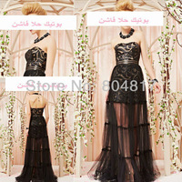 Hot Sale EA0049 Beautiful Black Lace Sweetheart Short Inside Outside Floor Length Evening Dress