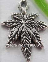 Wholesale Fashion  Vintage  Silver Marijuana leaves Charms Pendants DIY Jewelry Findings Free Shipping 100pcs 21*15mm Z1233