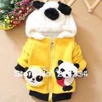 free shipping new three-dimensional cartoon boy kicking panda baby padded jacket coat wholesale
