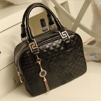 2014 new famous fashion designer women's leather Messenger Bags plaid shoulder weekender tote handbags for lady 626