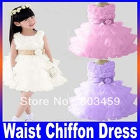 Retail !2013 new sleeveless Waist Chiffon Dress Girls Toddler 3D Flower Tutu Layered Princess Party Bow Kids Formal Dres