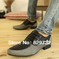 Free shipping 2013 new british style flats fashion men fashion pointed toe shoes transpierce formal small leather shoes