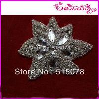 Fashion Crystal Iron on Big Clear Stone applique flower trim for bride dress trim