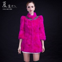 Isn't 2013 winter leather hare fur cape female slim fur coat