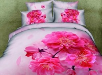New Beautiful 4PC 100% Cotton Comforter Duvet Doona Cover Sets FULL / QUEEN / KING SIZE bedding set 4pcs colorful Red flower
