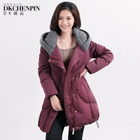 Dk 2013 winter female thick mm plus size color block dot with a hood down coat medium-long