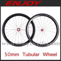 light weight 50mm carbon tubular bicycle wheels 700c road bike 50T wheelset