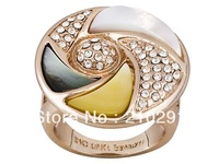 Wholesale - Multi-color Mother-of-pearl with Swarovski Elements Rose Gold Embraced Bronze Ring
