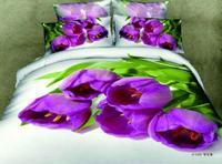 New Beautiful 4PC 100% Cotton Comforter Duvet Doona Cover Sets FULL / QUEEN / KING SIZE bedding set 4pcs colorful purple tulip