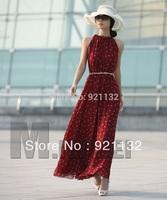 Free Shipping Bohemian Style Ladies Newest Fashion Stand Halter Neck Sleeveless Chiffon Long Maxi Evening Dress Black/Red