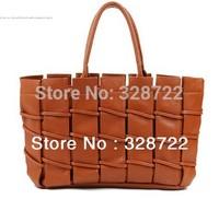 Free Shipping! Christmas Promotions Wholesale 2013  Fashion Coffee PU Braided Women's Handbag