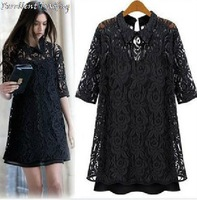 Free Shipping! 2013 new arrival Milan style lace dress sleeve lapel women chiffon dress black S to XXXL SIZE