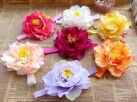 New big peony flower 5inch fabric flower on a headband wholesale 15pcsAngelBaby headwear free shipping wholesale
