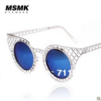 NEW Authentic women sunglasses, sales promotion, hollow Metal grid, five colors,support  Wholesale and retail, Free shipping