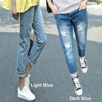 2013 New Fashion Mid Waist Women Straight Loose Pants Hole Bleached Lady's Jeans Wholesale capris Hole Jeans Women Free Shipping