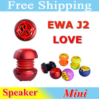 2013 Western Style Mini Portable Speaker EWA J2 6 Colors Stretchable Pocket Speaker Nice Love Head Speaker Free Shipping