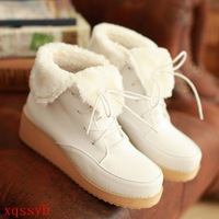 Wedges PU in with the boots autumn winter martin boots platform boots round toe shoes white