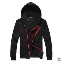 Male slim zipper-up napping outerwear male fleeces sweatshirt  Man hoodies