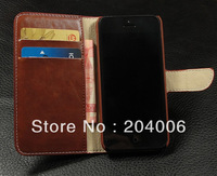 Leather Case for iPhone 5C iphone5c wallet with Card Holder Stand Book 2013 New Arrival Free shipping