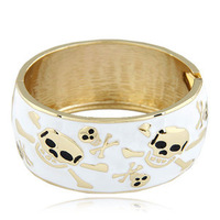Free Shipping New 2013 Gold Punk Open Wide Enamel Skull Cuff Bangle Bracelet Metal Fashion Jewelry for Women