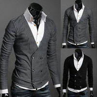 Spring and autumn fashion double breasted male brief knitted sweater cardigan