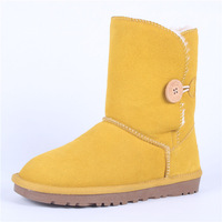 5803 knee-high snow boots yellow boots genuine leather cow muscle boots outsole knee-high men's female cotton-padded shoes