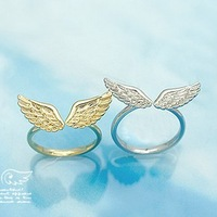 Min Order Is $10(mix order)Free Shipping Fashion Jewelry Connubial Angel Wings Couple Adjustable Opening Ring Wholesale