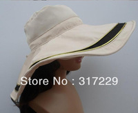 New Woman Foldable UV Beach Sun Hat Wide Brim Outdoor Neck Protection Hiking Cap