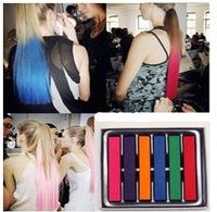 Free Shipping 6 Colors Salon Fashion Hot Fast Non-toxic DIY Temporary Pastel Hair Dye Color Chalk set
