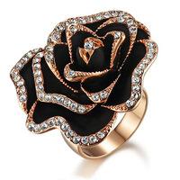 Rose fashion rose gold zirconium diamond ring flower female ka285