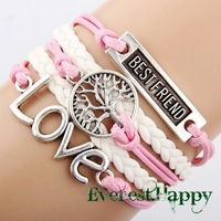 5pcs Antique Silver Charm Tree of Life Best Friend Love Braided Pink cord Leather Mixed Bracelet  Wristbands tt194 Xmas Gift