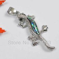 New Zealand Abalone Shell Bead Pendant Gecko Jewelry Free shipping S1019
