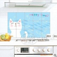 Hot Sale of PVC 45*75CM cute smile white cats ceramic tile-high temperature pollution prevention wall stickers FREE SHIPPING